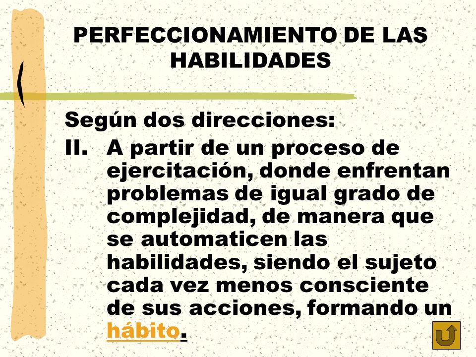 PERFECCIONAMIENTO DE LAS HABILIDADES