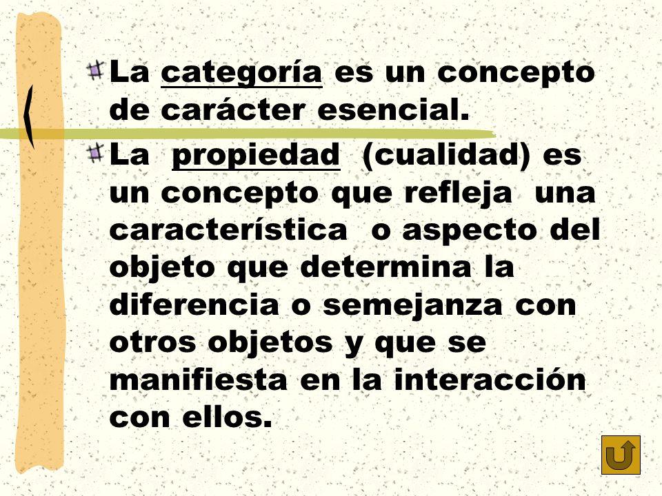 La categoría es un concepto de carácter esencial.