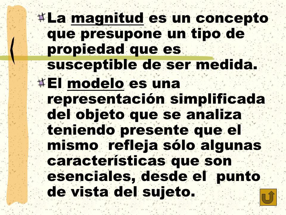La magnitud es un concepto que presupone un tipo de propiedad que es susceptible de ser medida.