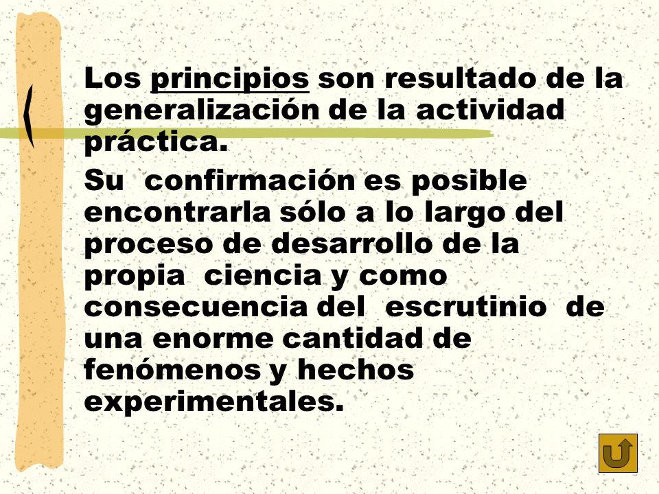 Los principios son resultado de la generalización de la actividad práctica.
