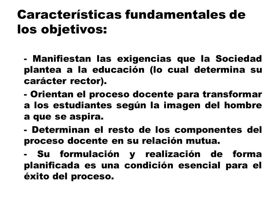 Características fundamentales de los objetivos:
