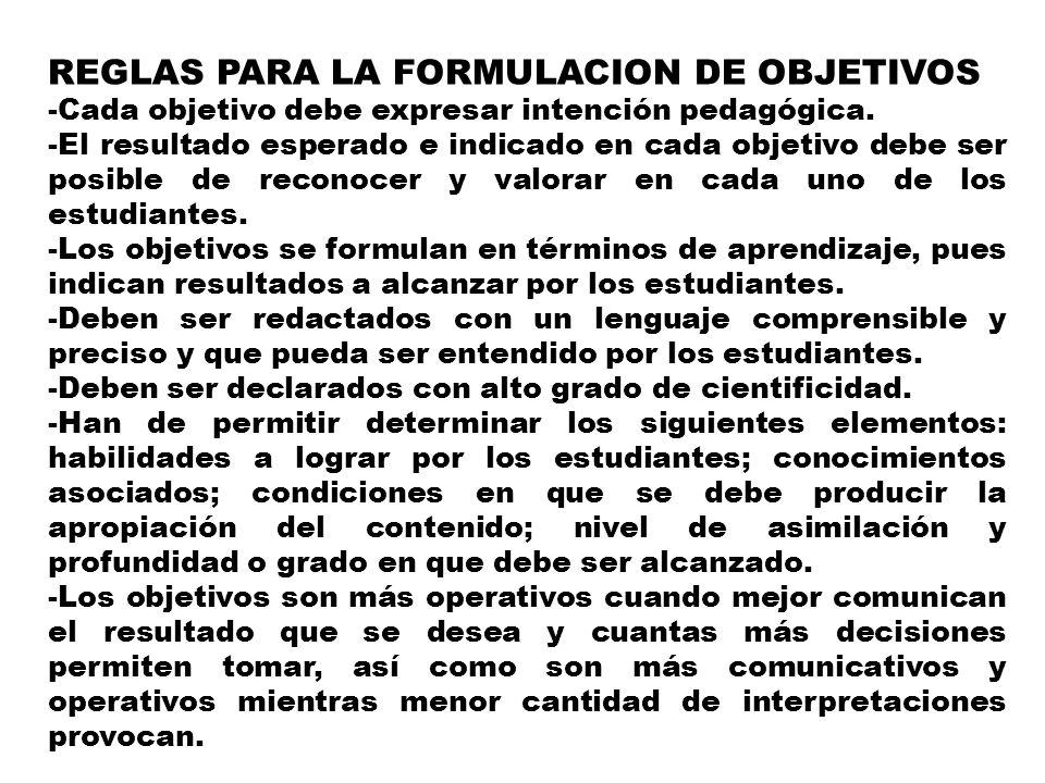 REGLAS PARA LA FORMULACION DE OBJETIVOS