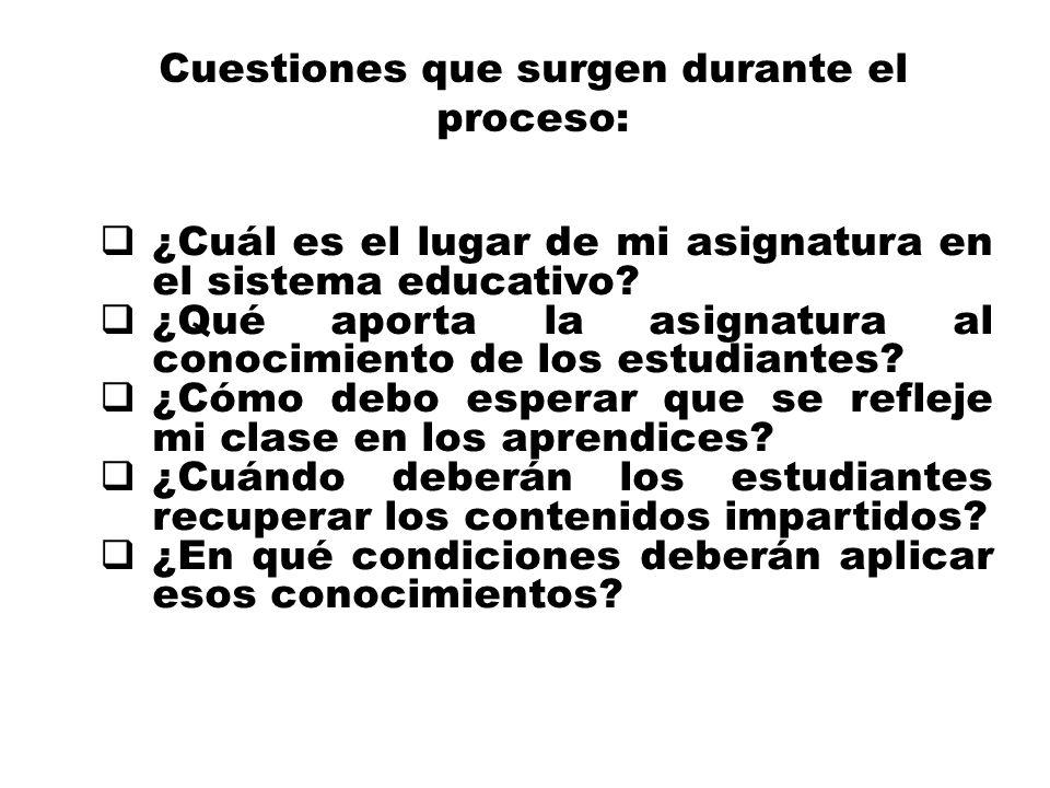 Cuestiones que surgen durante el proceso: