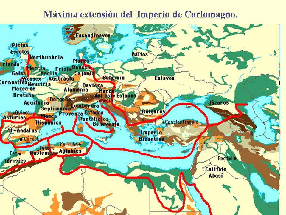 Máxima extensión del Imperio de Carlomagno.