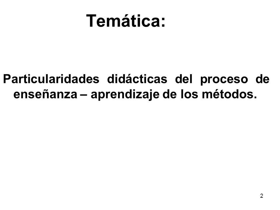 Temática: Particularidades didácticas del proceso de enseñanza – aprendizaje de los métodos.