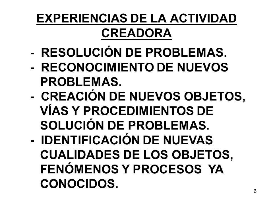 EXPERIENCIAS DE LA ACTIVIDAD CREADORA