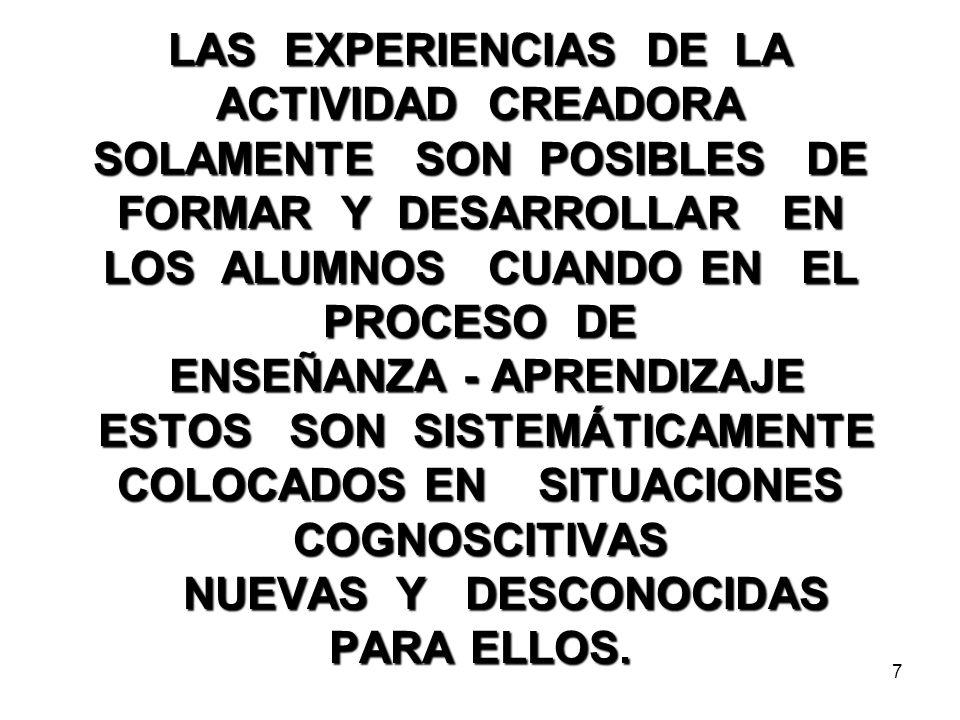 LAS EXPERIENCIAS DE LA ACTIVIDAD CREADORA SOLAMENTE SON POSIBLES DE FORMAR Y DESARROLLAR EN LOS ALUMNOS CUANDO EN EL PROCESO DE ENSEÑANZA - APRENDIZAJE ESTOS SON SISTEMÁTICAMENTE COLOCADOS EN SITUACIONES COGNOSCITIVAS NUEVAS Y DESCONOCIDAS PARA ELLOS.