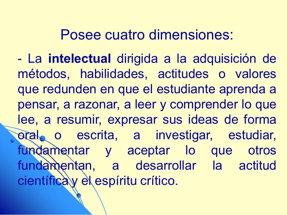 Posee cuatro dimensiones: