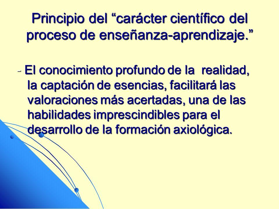 Principio del carácter científico del proceso de enseñanza-aprendizaje.
