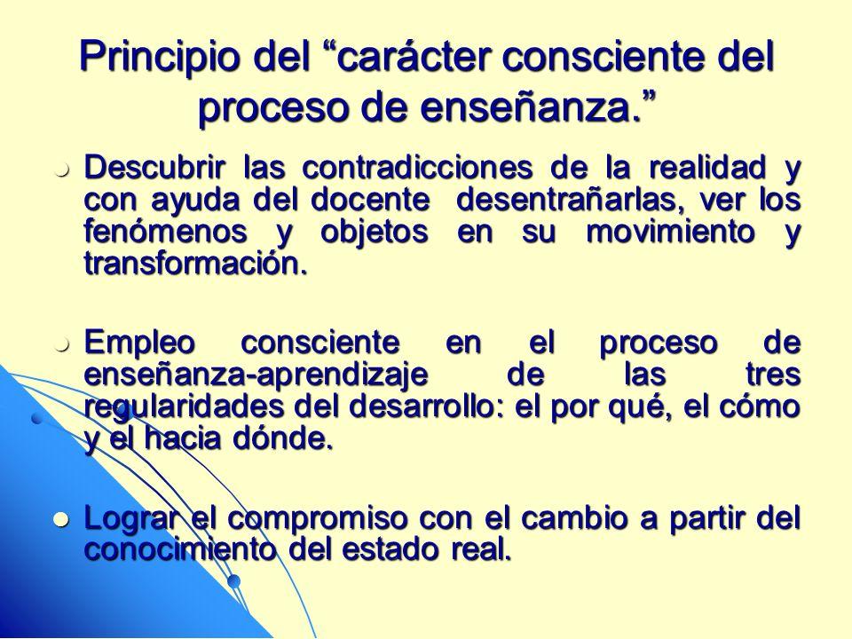 Principio del carácter consciente del proceso de enseñanza.