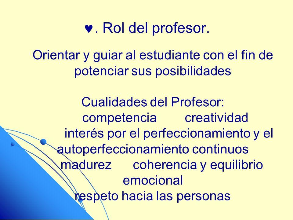 . Rol del profesor. Orientar y guiar al estudiante con el fin de potenciar sus posibilidades. Cualidades del Profesor:
