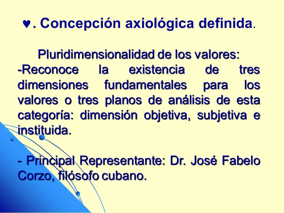 . Concepción axiológica definida.