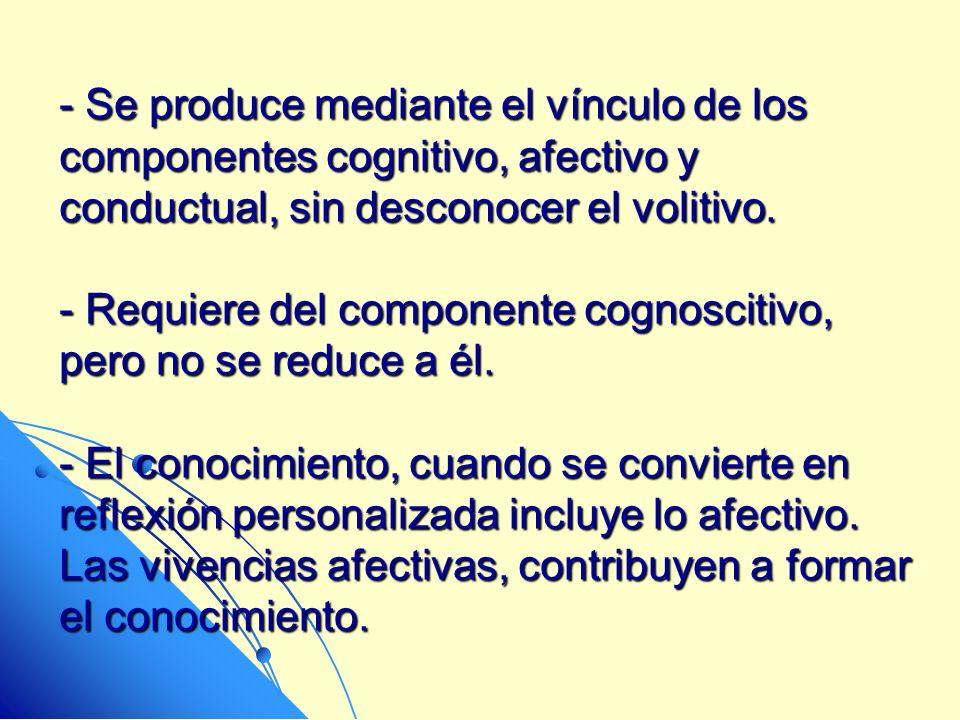 Se produce mediante el vínculo de los componentes cognitivo, afectivo y conductual, sin desconocer el volitivo.