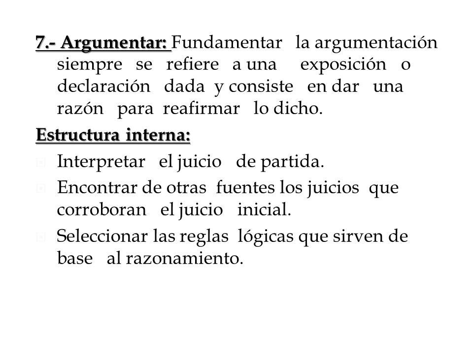 7.- Argumentar: Fundamentar la argumentación siempre se refiere a una exposición o declaración dada y consiste en dar una razón para reafirmar lo dicho.