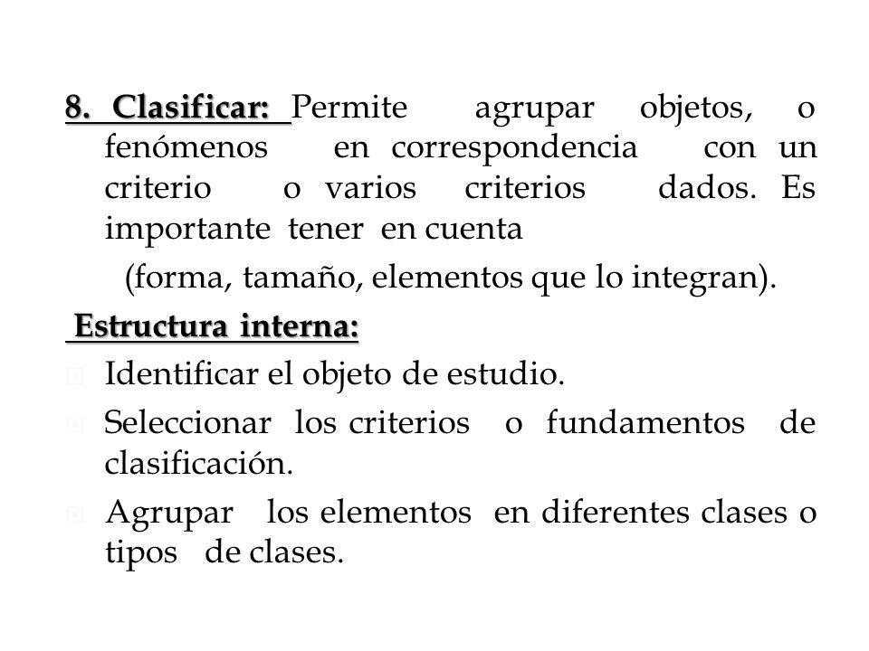 8. Clasificar: Permite agrupar objetos, o fenómenos en correspondencia con un criterio o varios criterios dados. Es importante tener en cuenta