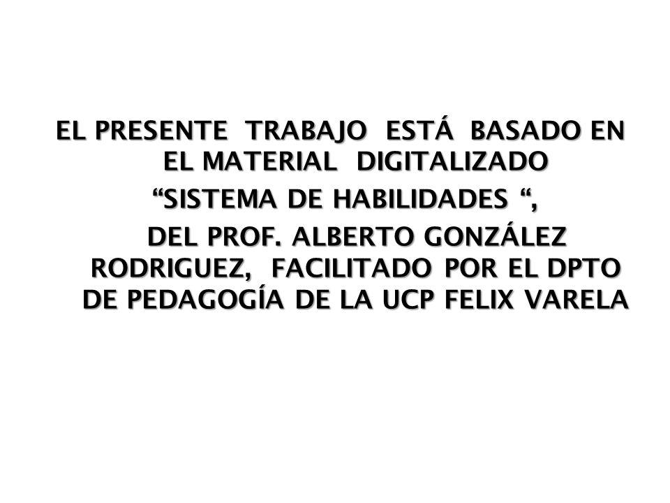 EL PRESENTE TRABAJO ESTÁ BASADO EN EL MATERIAL DIGITALIZADO SISTEMA DE HABILIDADES , DEL PROF.