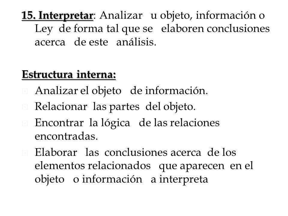 15. Interpretar: Analizar u objeto, información o Ley de forma tal que se elaboren conclusiones acerca de este análisis.