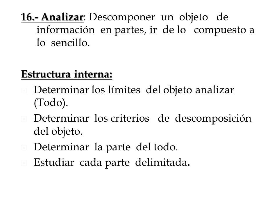 16.- Analizar: Descomponer un objeto de información en partes, ir de lo compuesto a lo sencillo.