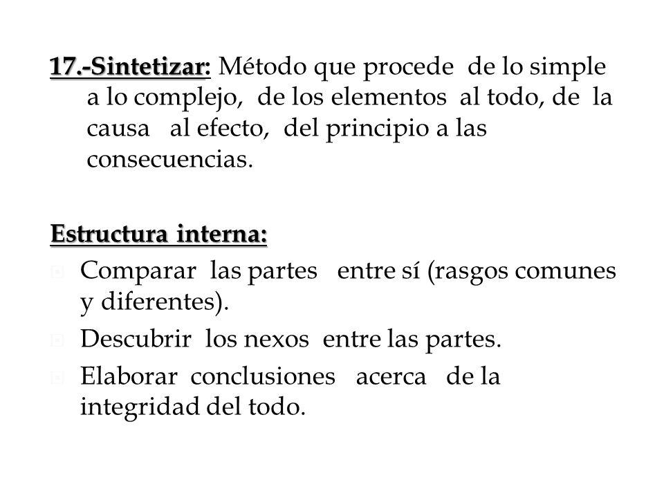 17.-Sintetizar: Método que procede de lo simple a lo complejo, de los elementos al todo, de la causa al efecto, del principio a las consecuencias.