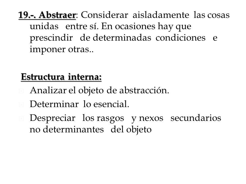 19. -. Abstraer: Considerar aisladamente las cosas unidas entre sí