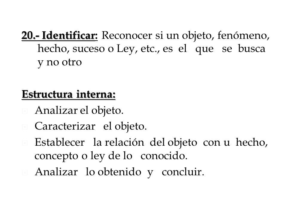 20.- Identificar: Reconocer si un objeto, fenómeno, hecho, suceso o Ley, etc., es el que se busca y no otro