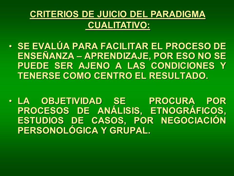 CRITERIOS DE JUICIO DEL PARADIGMA