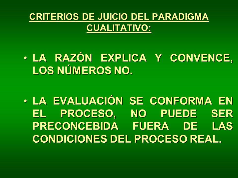 CRITERIOS DE JUICIO DEL PARADIGMA CUALITATIVO: