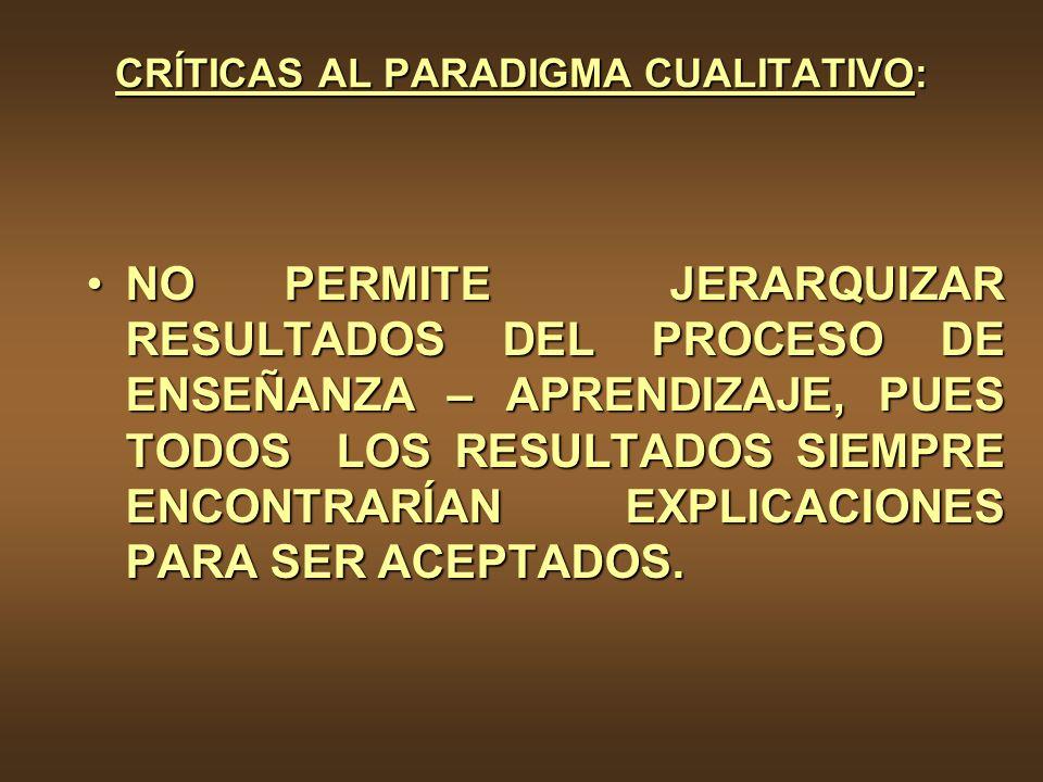 CRÍTICAS AL PARADIGMA CUALITATIVO: