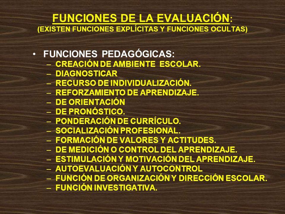 FUNCIONES DE LA EVALUACIÓN: (EXISTEN FUNCIONES EXPLÍCITAS Y FUNCIONES OCULTAS)