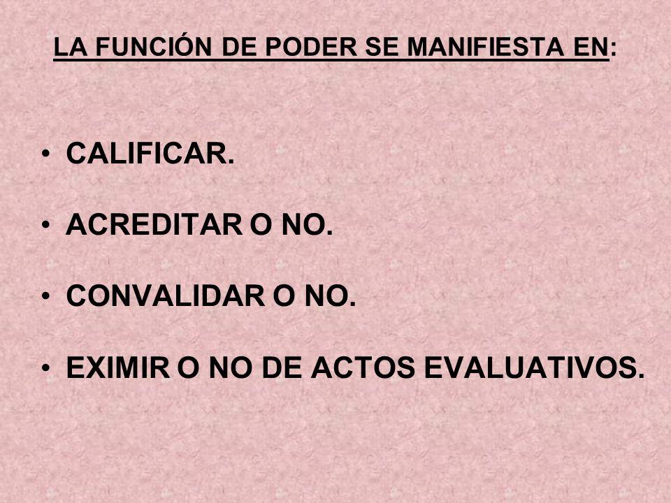 LA FUNCIÓN DE PODER SE MANIFIESTA EN: