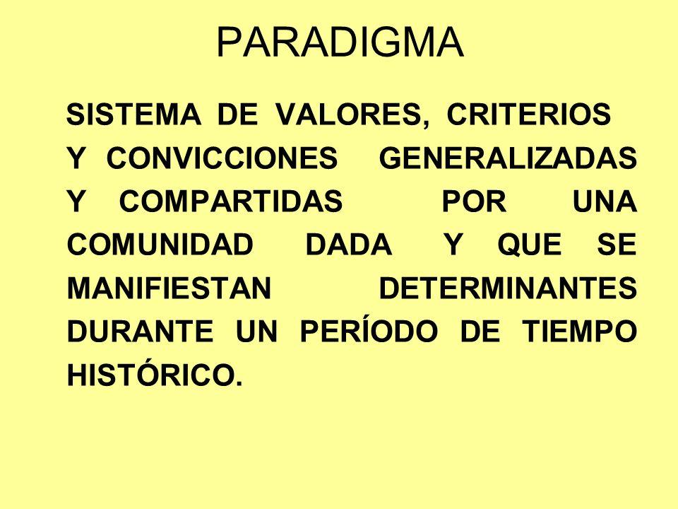 PARADIGMA SISTEMA DE VALORES, CRITERIOS