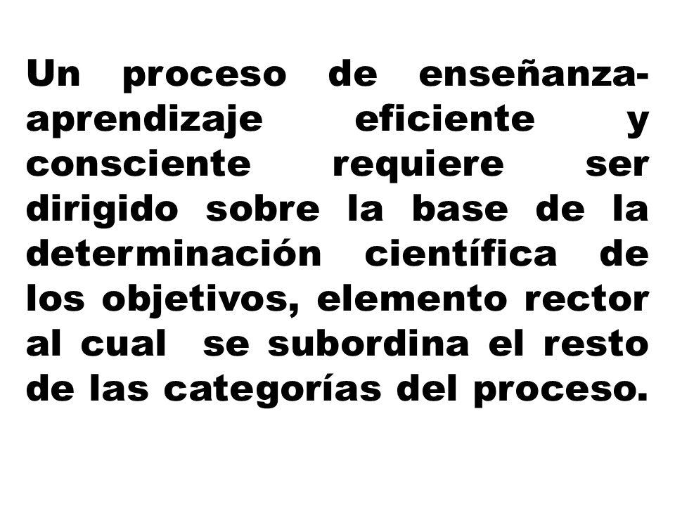 Un proceso de enseñanza-aprendizaje eficiente y consciente requiere ser dirigido sobre la base de la determinación científica de los objetivos, elemento rector al cual se subordina el resto de las categorías del proceso.