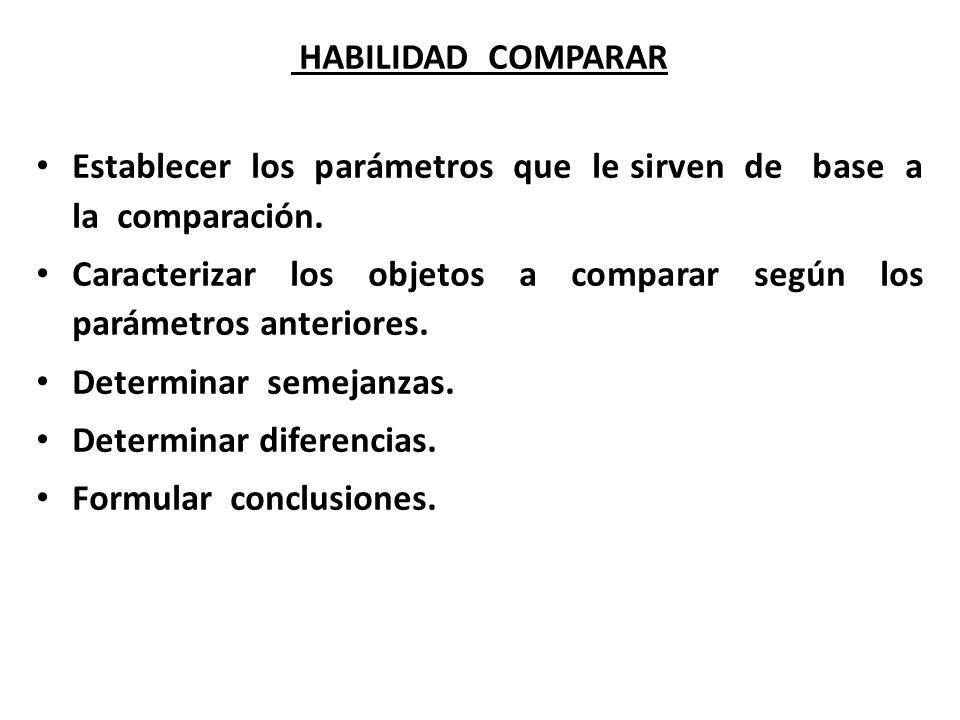 HABILIDAD COMPARAR Establecer los parámetros que le sirven de base a la comparación.