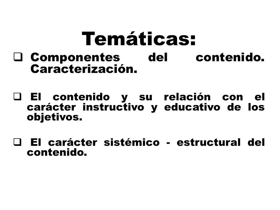Temáticas: Componentes del contenido. Caracterización.