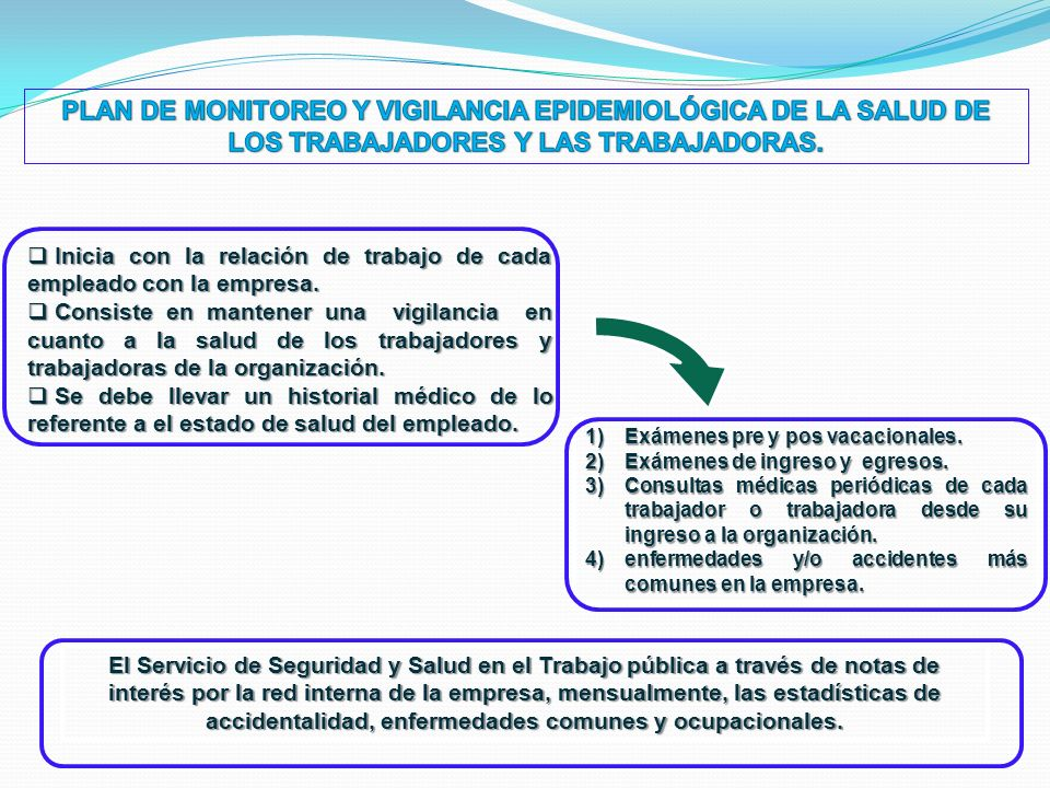 PLAN DE MONITOREO Y VIGILANCIA EPIDEMIOLÓGICA DE LA SALUD DE LOS TRABAJADORES Y LAS TRABAJADORAS.