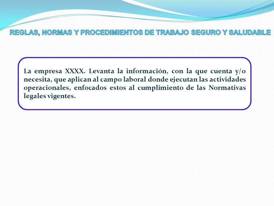 REGLAS, NORMAS Y PROCEDIMIENTOS DE TRABAJO SEGURO Y SALUDABLE