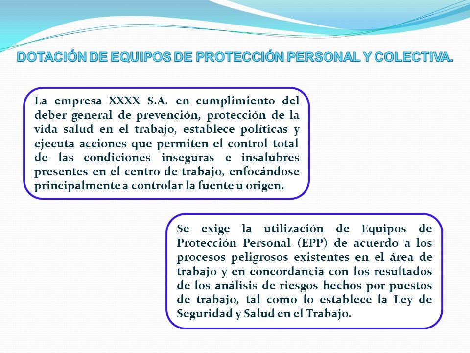DOTACIÓN DE EQUIPOS DE PROTECCIÓN PERSONAL Y COLECTIVA.