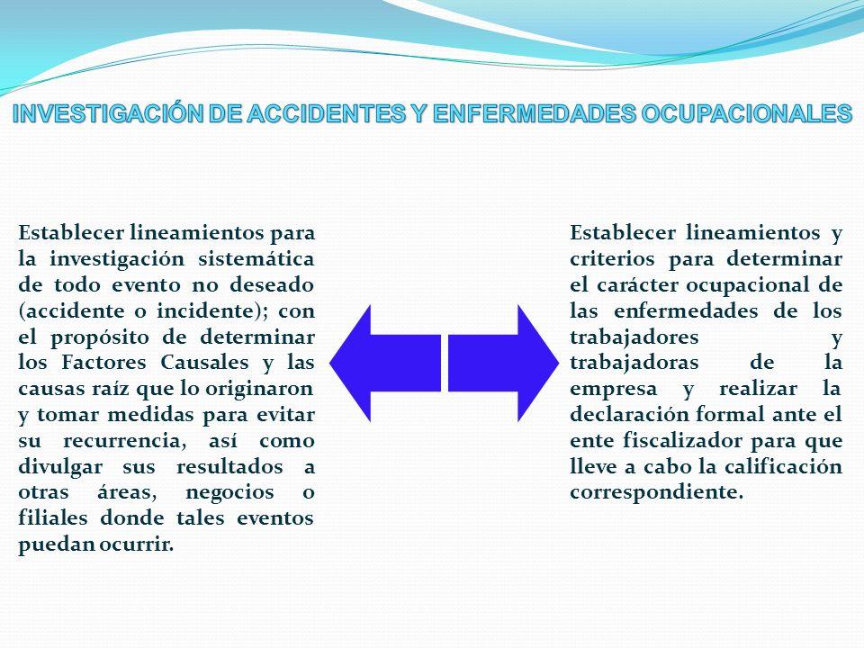 INVESTIGACIÓN DE ACCIDENTES Y ENFERMEDADES OCUPACIONALES