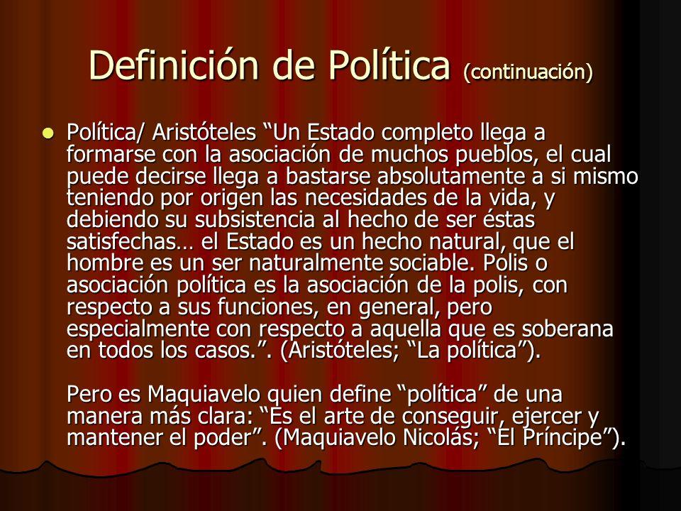 Definición de Política (continuación)