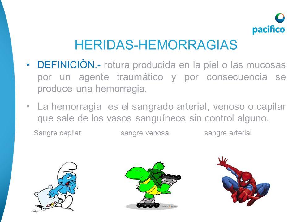 HERIDAS-HEMORRAGIAS DEFINICIÒN.- rotura producida en la piel o las mucosas por un agente traumático y por consecuencia se produce una hemorragia.