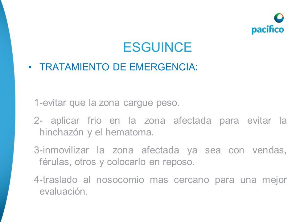 ESGUINCE TRATAMIENTO DE EMERGENCIA: 1-evitar que la zona cargue peso.