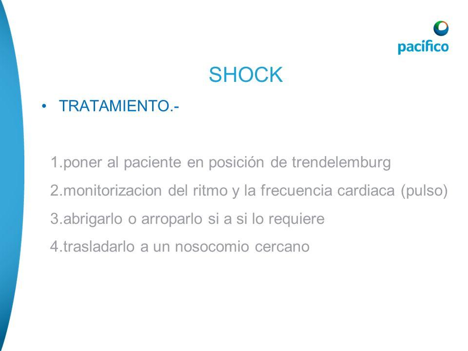 SHOCK TRATAMIENTO.- 1.poner al paciente en posición de trendelemburg