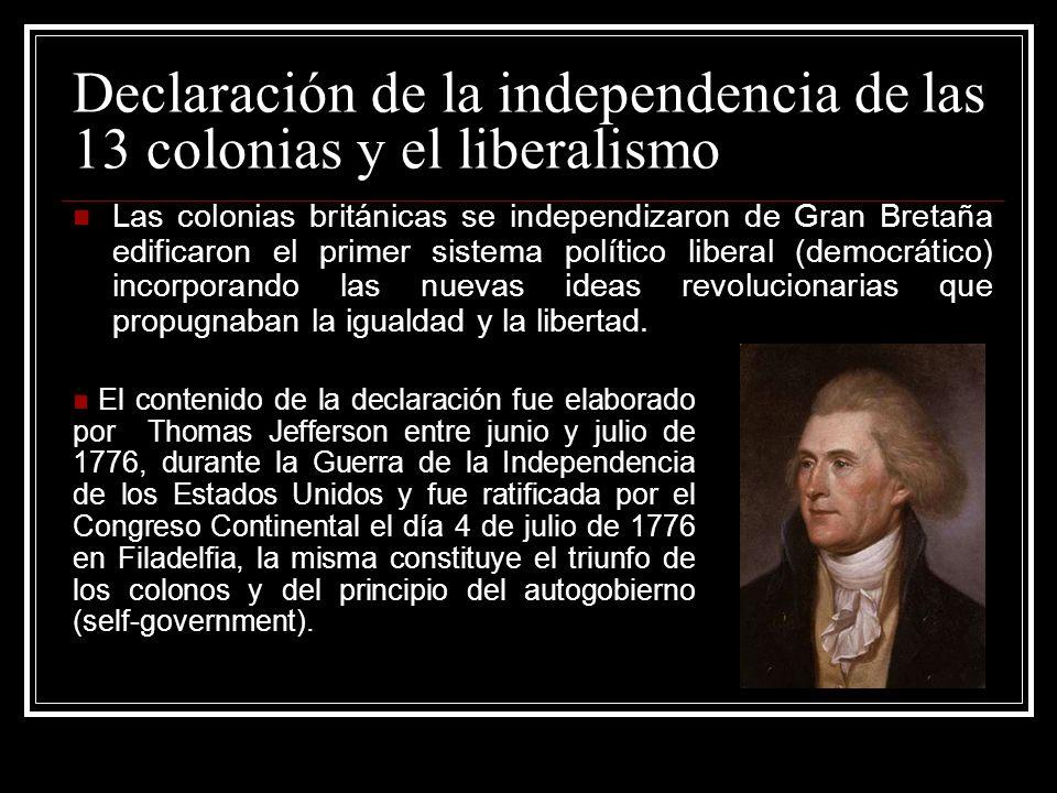 Declaración de la independencia de las 13 colonias y el liberalismo