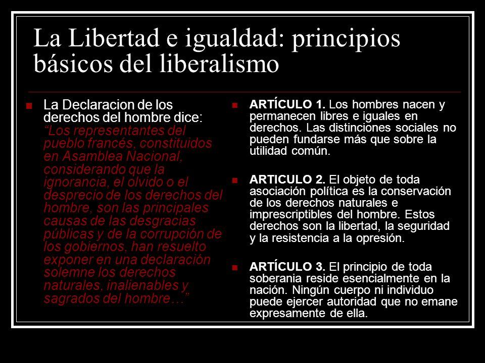 La Libertad e igualdad: principios básicos del liberalismo