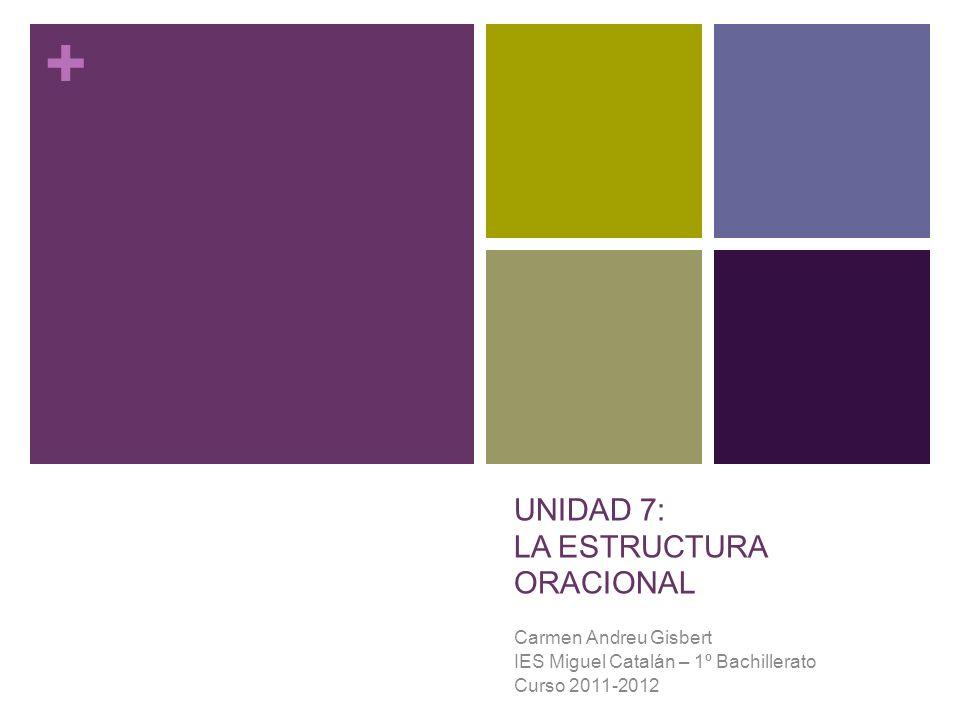 UNIDAD 7: LA ESTRUCTURA ORACIONAL