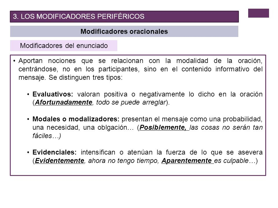Modificadores oracionales