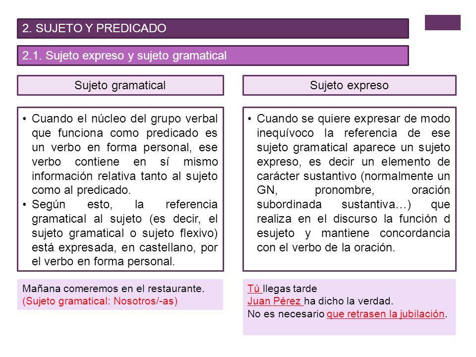 2.1. Sujeto expreso y sujeto gramatical