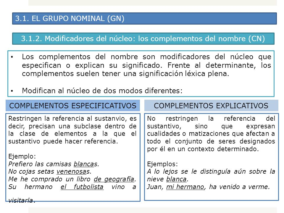 3.1.2. Modificadores del núcleo: los complementos del nombre (CN)