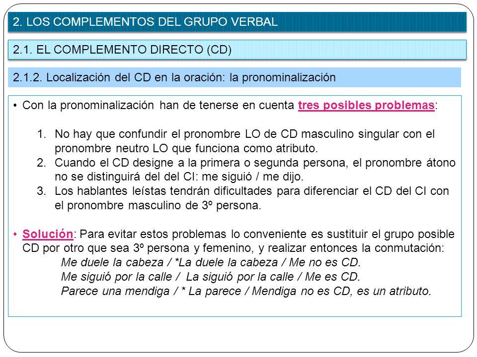 2. LOS COMPLEMENTOS DEL GRUPO VERBAL