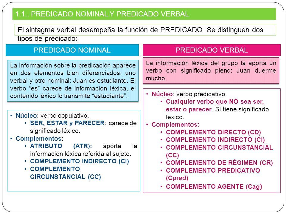 1.1.. PREDICADO NOMINAL Y PREDICADO VERBAL